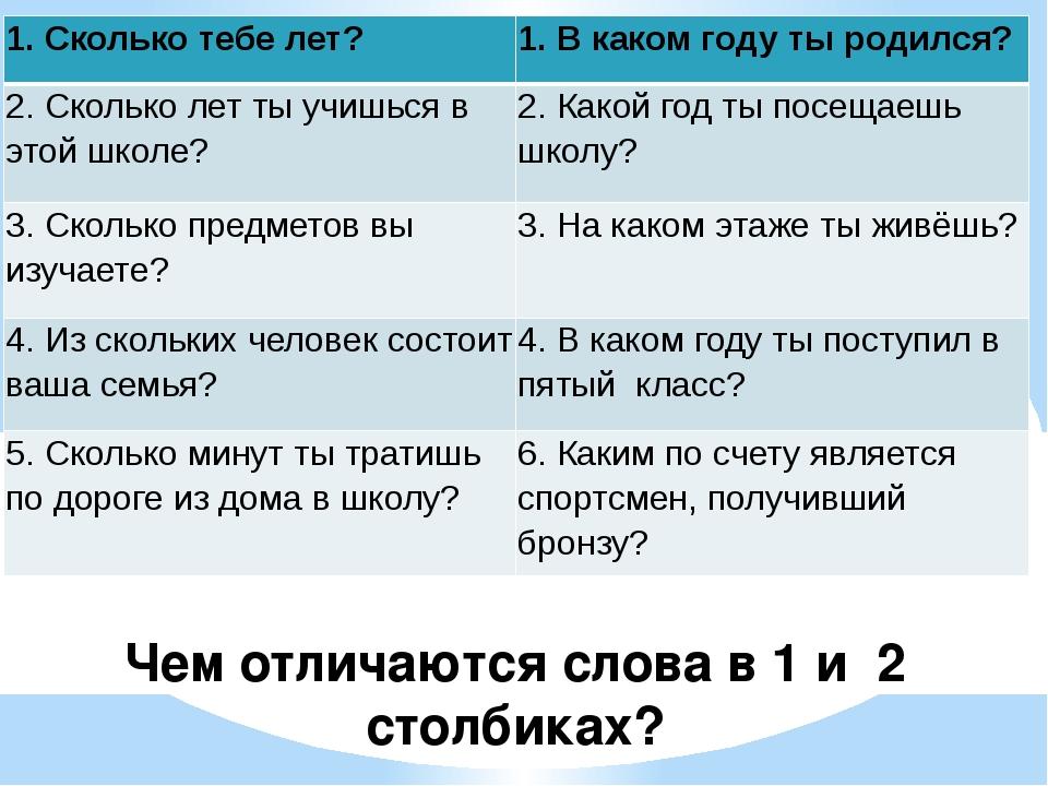 Чем отличаются слова в 1 и 2 столбиках? 1. Сколько тебе лет? 1. В каком году...