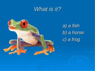 What is it? a) a fish b) a horse c) a frog