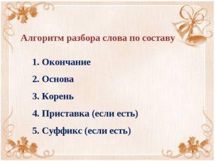 1. Окончание 2. Основа 3. Корень 4. Приставка (если есть) 5. Суффикс (если ес