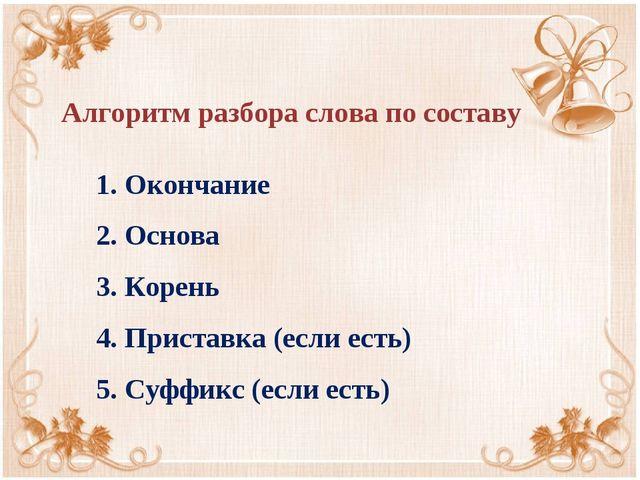 1. Окончание 2. Основа 3. Корень 4. Приставка (если есть) 5. Суффикс (если ес...