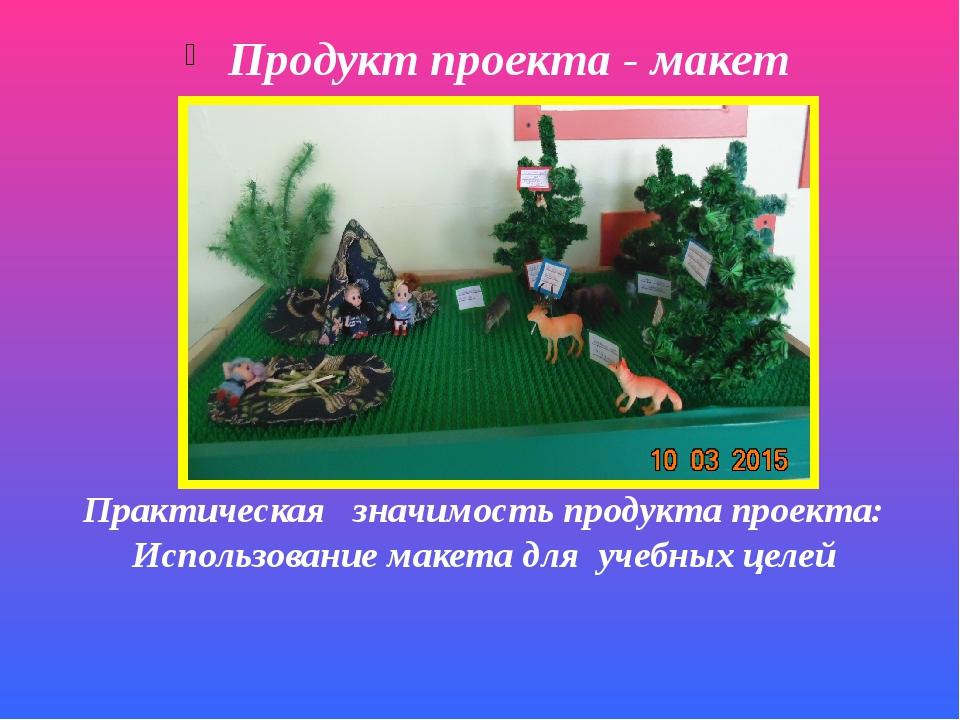 Продукт проекта - макет Практическая значимость продукта проекта: Использован...