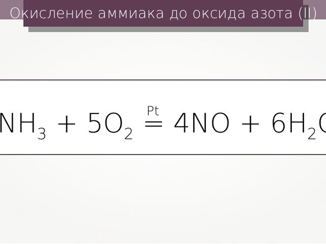 Окисление аммиака до оксида азота (II) 4NH3 + 5O2 = 4NO + 6H2O Pt