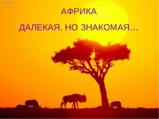 АФРИКА ДАЛЕКАЯ, НО ЗНАКОМАЯ…