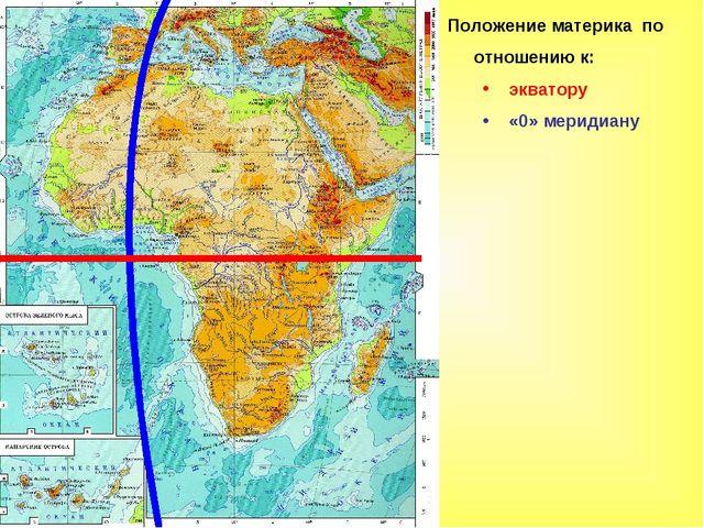 Положение материка по отношению к: экватору «0» меридиану