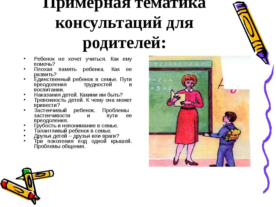 Примерная тематика консультаций для родителей: Ребенок не хочет учиться. Как...