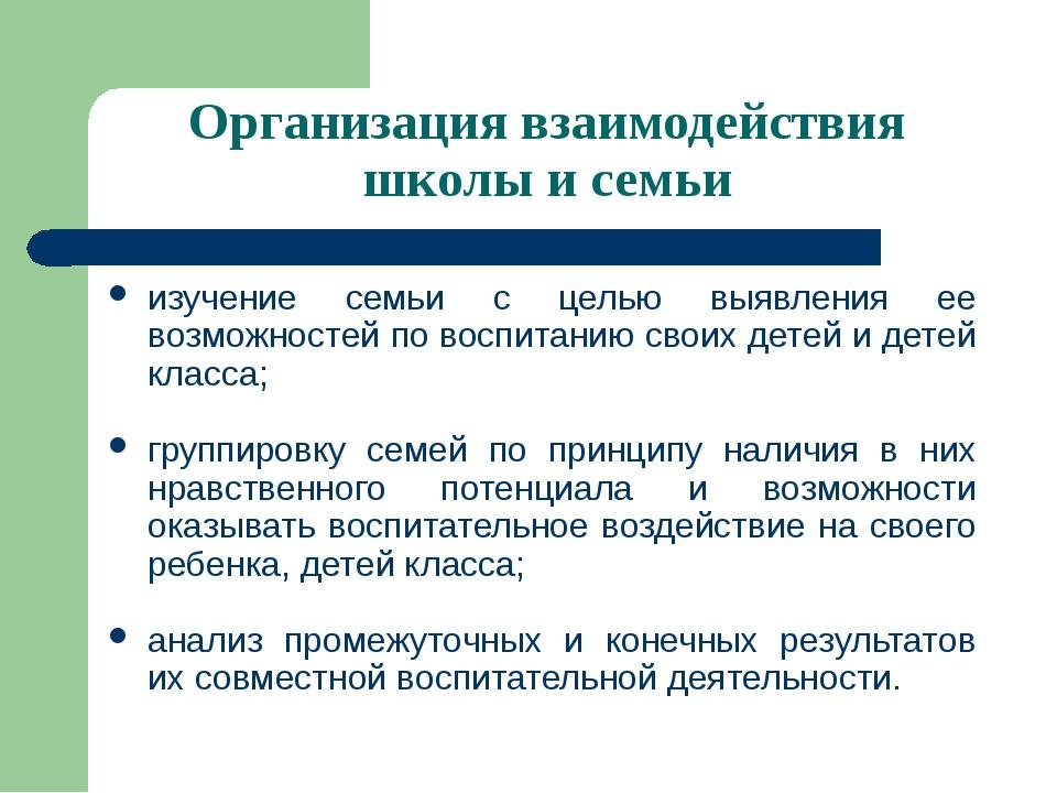 Организация взаимодействия школы и семьи изучение семьи с целью выявления ее...