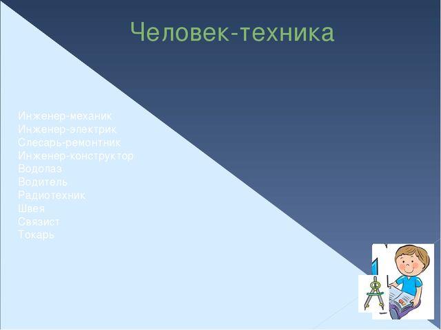 Человек-техника Инженер-механик Инженер-электрик Слесарь-ремонтник Инженер-ко...