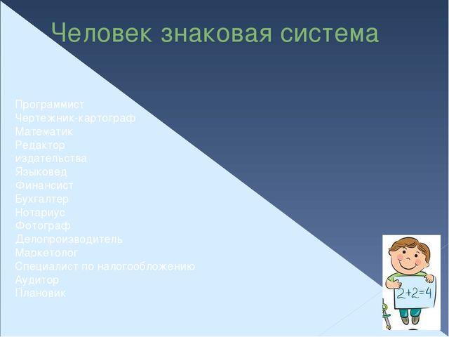 Человек знаковая система Программист Чертежник-картограф Математик Редактор и...