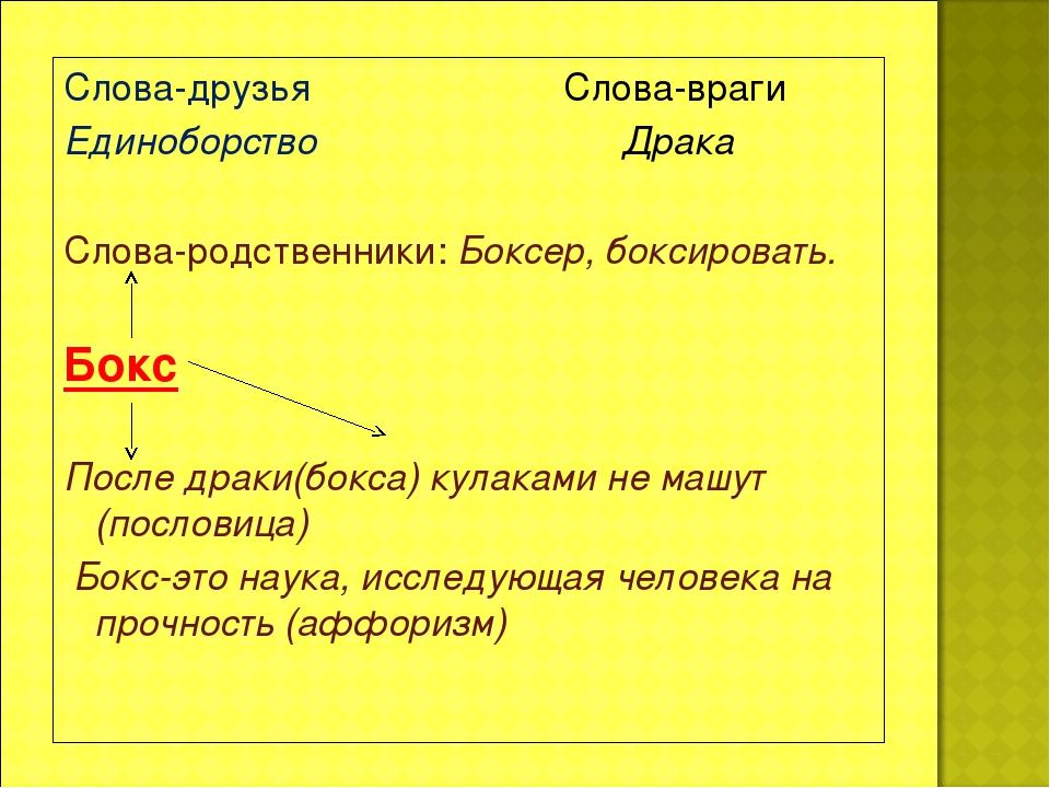 Слова-друзья Слова-враги Единоборство Драка Слова-родственники: Боксер, бокси...