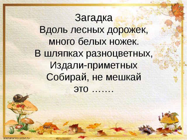 Загадка Вдоль лесных дорожек, много белых ножек. В шляпках разноцветных, Изда...