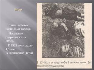 5 млн. человек погибло от голода. Население сократилось на 20,6%. К 1922 год