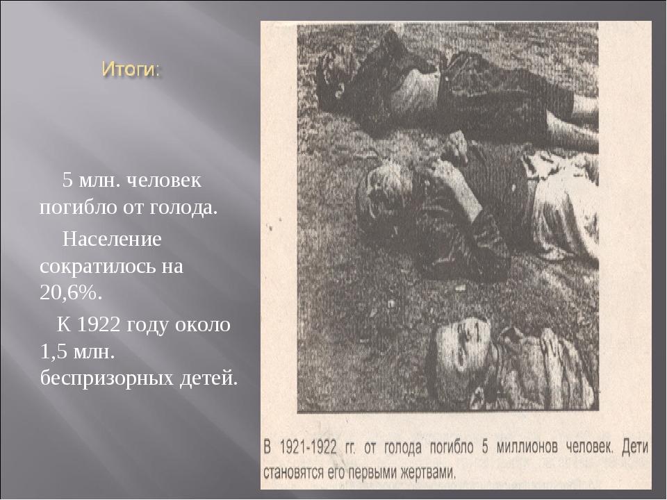 5 млн. человек погибло от голода. Население сократилось на 20,6%. К 1922 год...