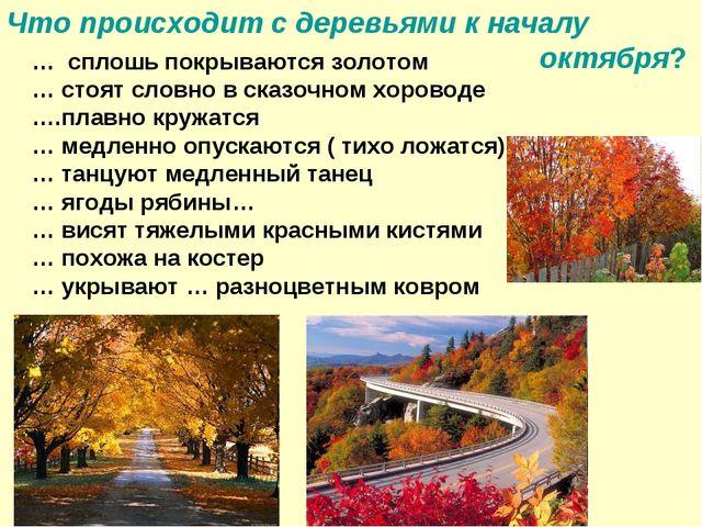 Что происходит с деревьями к началу октября? … сплошь покрываются золотом … с...