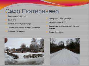 Село Екатеринино 1 февраля Температура 7. 00- (+4), 15 .00-(+2) Осадкии- мелк