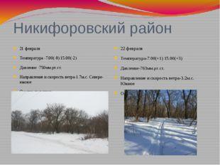 Никифоровский район 21 февраля Температура -7.00(-8) 15.00(-2) Давление -750м