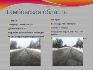 Тамбовская область 23 февраля Температура -7.00(+1 )15.00(+3) Давление-634мм.