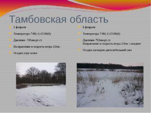 Тамбовская область 5 февраля Температура-7.00(-1) 15.00(0) Давление -745мм.рт