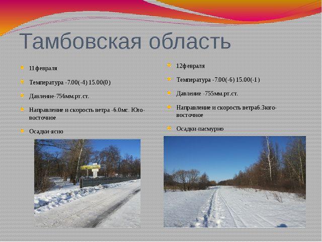 Тамбовская область 11февраля Температура -7.00(-4) 15.00(0) Давление-756мм.рт...
