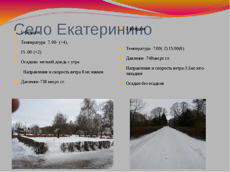 Село Екатеринино 1 февраля Температура 7. 00- (+4), 15 .00-(+2) Осадкии- мелк...