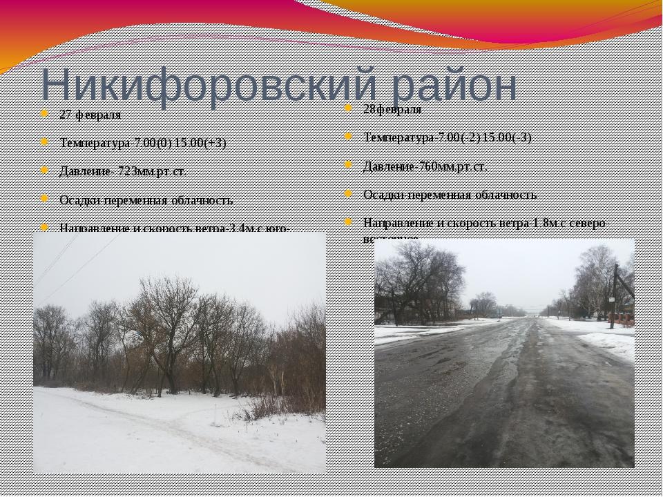 Никифоровский район 27 февраля Температура-7.00(0) 15.00(+3) Давление- 723мм....