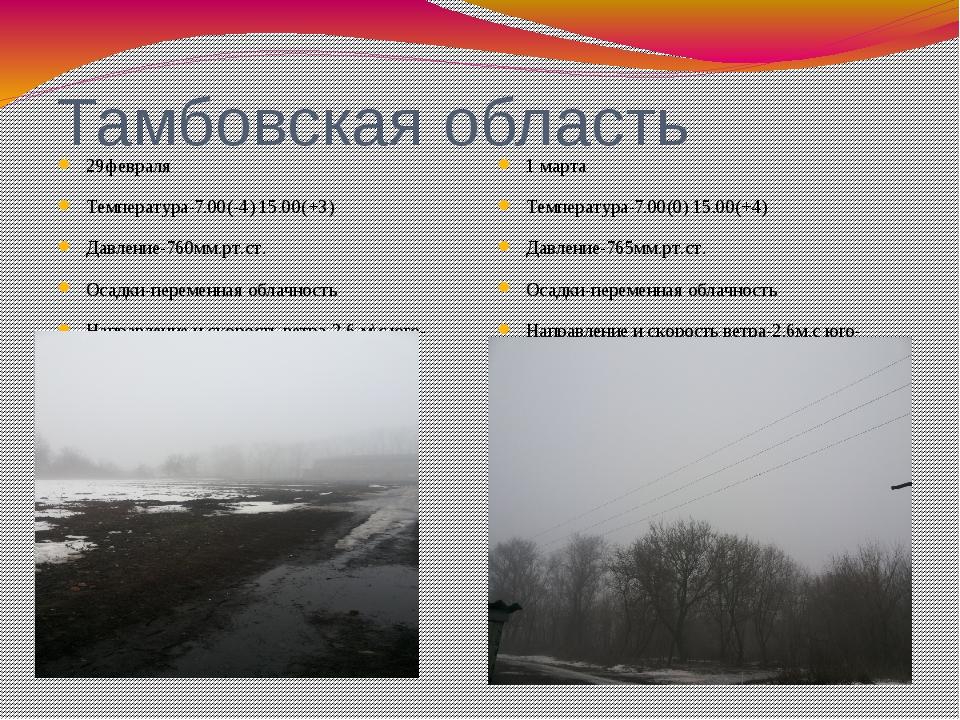 Тамбовская область 29февраля Температура-7.00(-4) 15.00(+3) Давление-760мм.рт...