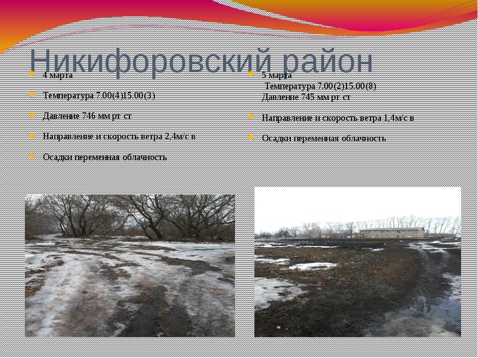 Никифоровский район 4 марта Температура 7.00(4)15.00(3) Давление 746 мм рт ст...