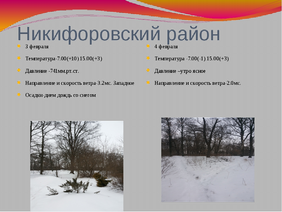 Никифоровский район 3 февраля Температура-7.00(+10) 15.00(+3) Давление -741мм...