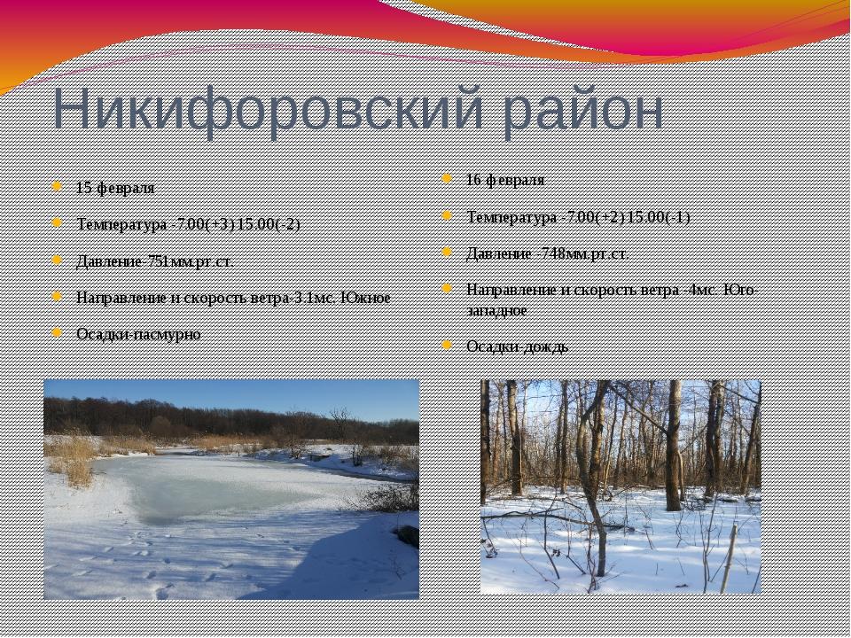 Никифоровский район 15 февраля Температура -7.00(+3) 15.00(-2) Давление-751мм...
