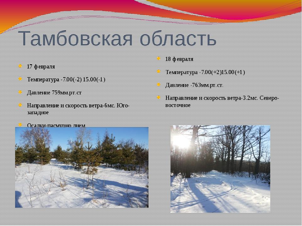 Тамбовская область 17 февраля Температура -7.00(-2) 15.00(-1) Давление 759мм....