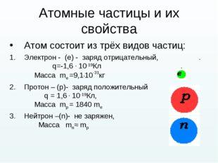 Атомные частицы и их свойства Атом состоит из трёх видов частиц: Электрон - (