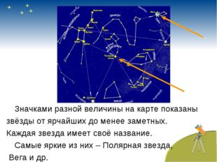 Значками разной величины на карте показаны звёзды от ярчайших до менее замет