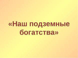 «Наш подземные богатства»
