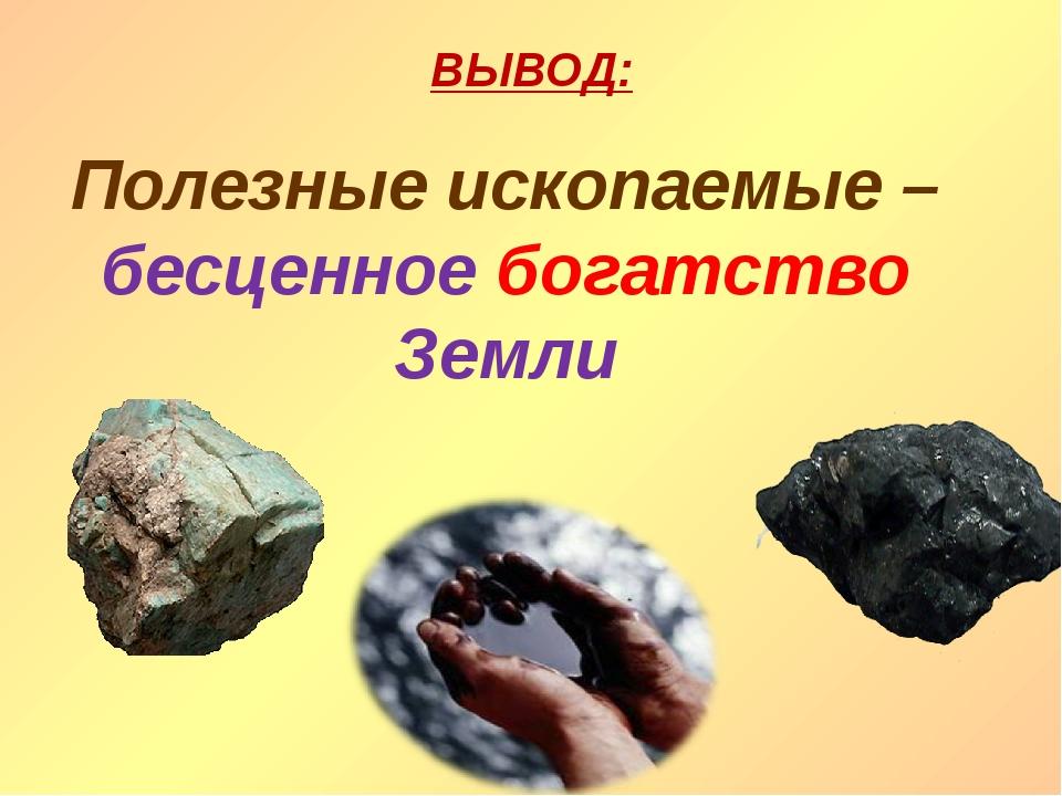 ВЫВОД: Полезные ископаемые – бесценное богатство Земли