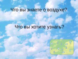 Что вы знаете о воздухе? Что вы хотите узнать?