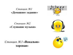 Станция №3 «Вокально-хоровая» Станция №2 «Слушание музыки» Станция №1 «Домаш