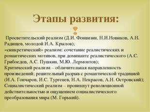 Этапы развития: Просветительский реализм (Д.И. Фонвизин, Н.И.Новиков, А.Н. Ра