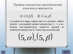 Пример декартова произведения конечных множеств