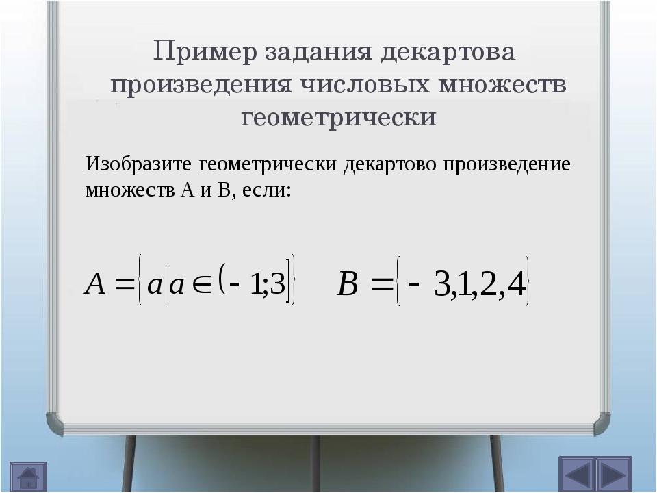 Пример задания декартова произведения конечных множеств геометрически x y 4...