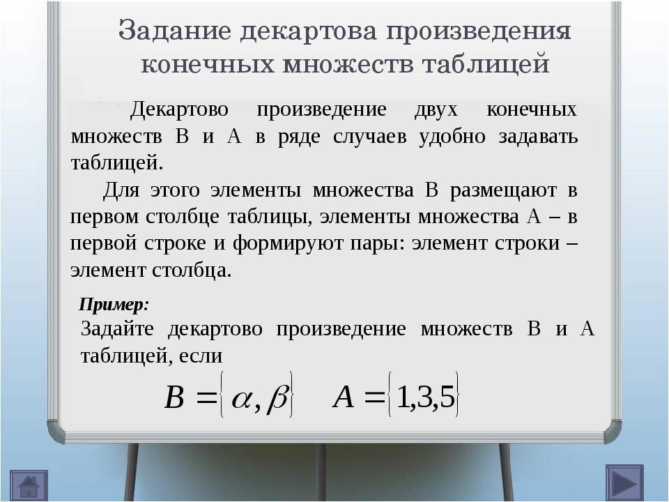 Задание декартова произведения конечных множеств таблицей ( , ) ( , ) ( , )...