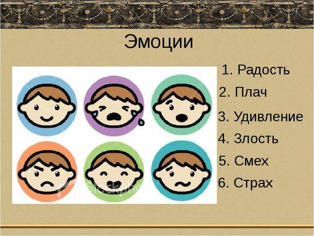 Эмоции 1. Радость 2. Плач 3. Удивление 4. Злость 5. Смех 6. Страх