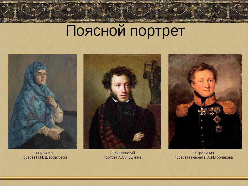 Поясной портрет В.Суриков портрет П.И. Щербатовой О.Кипренский портрет А.С.Пу...
