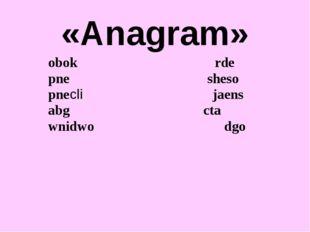 «Anagram» obok rde pne sheso pnecli jaens abg cta wnidwo dgo
