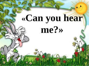 «Can you hear me?»