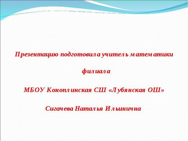 Презентацию подготовила учитель математики филиала МБОУ Коноплинская СШ «Лубя...