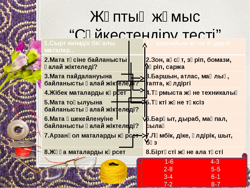 """Жұптық жұмыс """"Сәйкестендіру тесті"""" 1-6 4-3 2-8 5-5 3-4 6-1 7-2 8-7 1.Сырт киі..."""