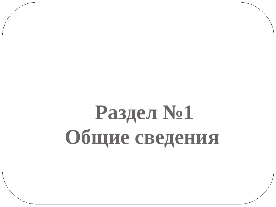 Раздел №1 Общие сведения