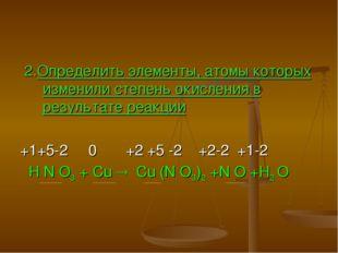 2.Определить элементы, атомы которых изменили степень окисления в результате