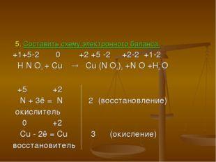 5. Составить схему электронного баланса. +1+5-2 0 +2 +5 -2 +2-2 +1-2 H N O3