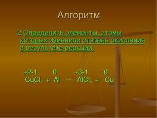 Алгоритм 2.Определить элементы, атомы которых изменили степень окисления в ре