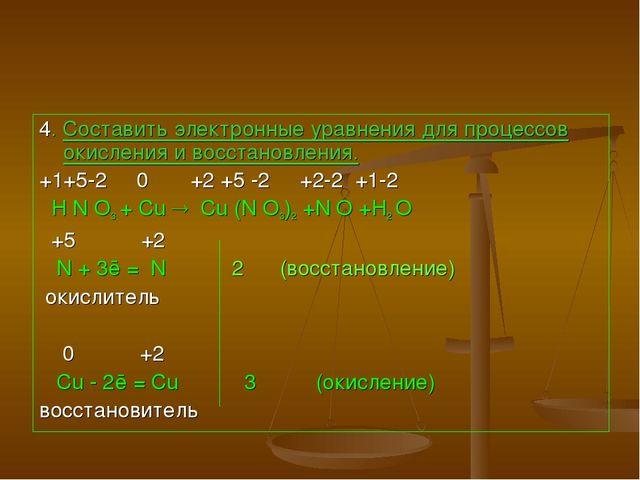 4. Составить электронные уравнения для процессов окисления и восстановления....